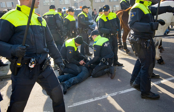 European police use reasonable force to arrest a protester.