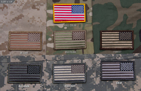 Backwards American flag patches for different batches