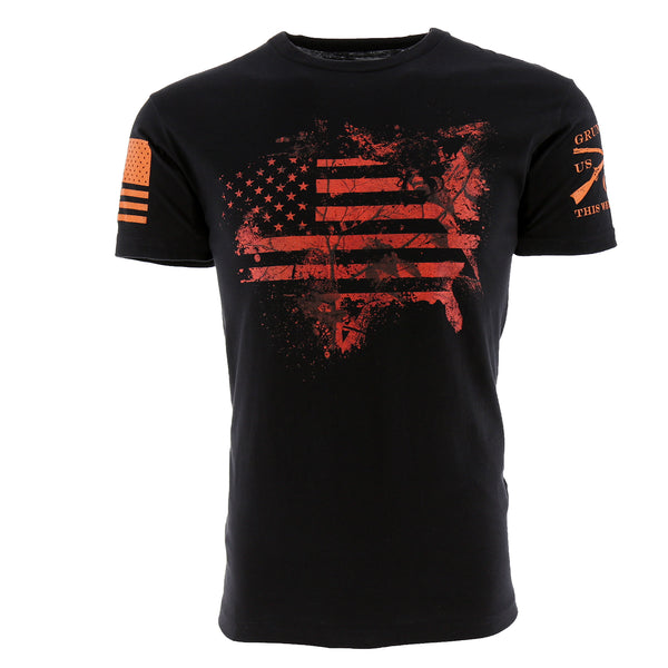 Grunt Style Realtree AP Blaze USA Flag Men's T-Shirt