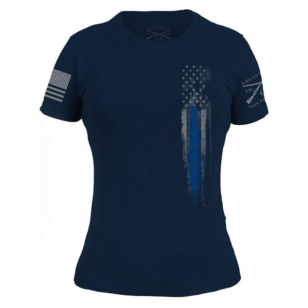 Grunt Style Blue Line Flag Women's T-Shirts