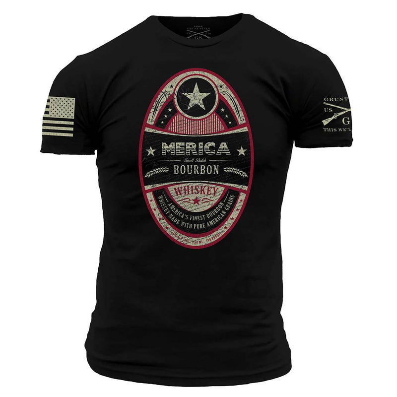 Grunt Style Merica Bourbon Whiskey Label Men's T-Shirt