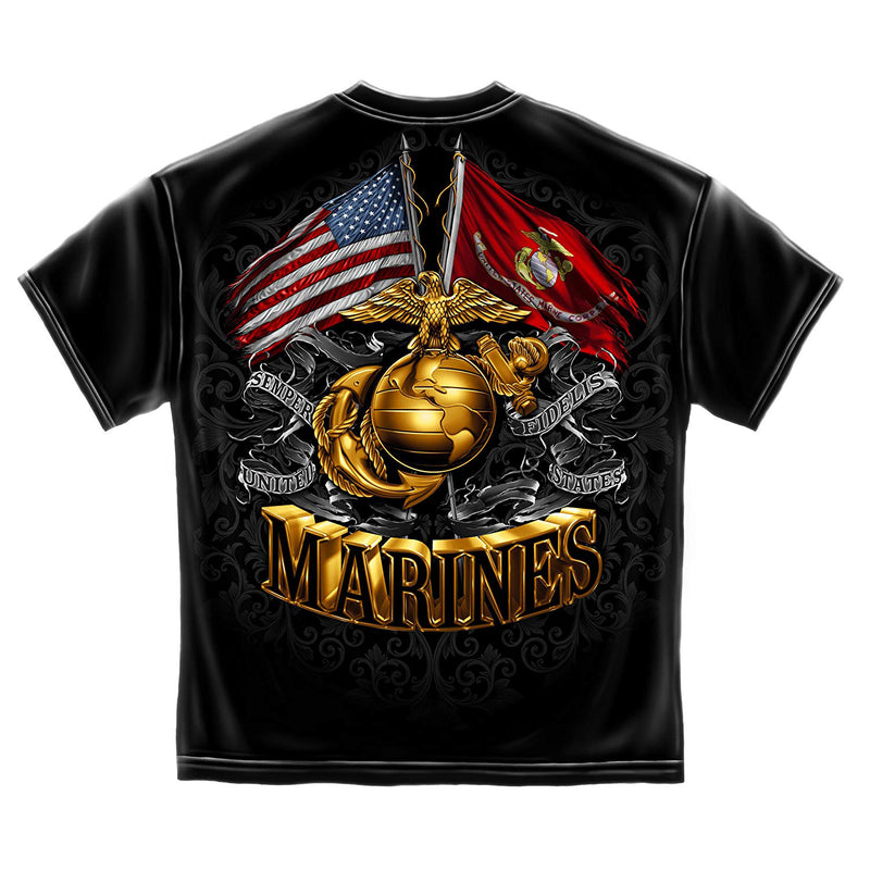 Erazor Bits USMC Gold Globe Double Flag Eagle Men's T-Shirt