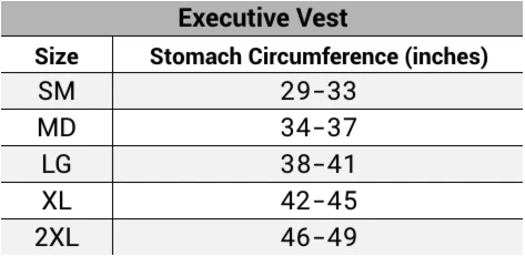 Sizing guide for Executive Vest