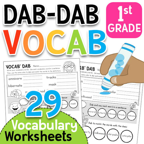 Dab-Dab Vocab: First Grade Vocabulary Worksheets