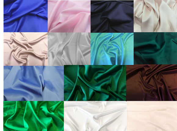 "STRETCH Bridal Satin Samples. These ship free!! When checking out, please enter code ""pickup"". Thanks"
