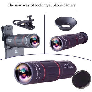 Apexel Universal 18X Optical Camera Mobile Zoom Lens Manual Telescope Lens with Clamp