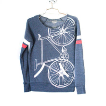 Fixie Bike Sweatshirt, White Bike on Navy