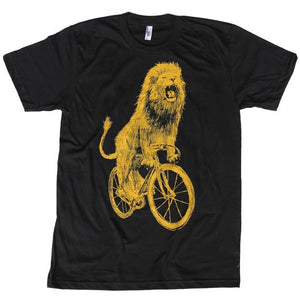 Lion on a Bicycle T-Shirt, Men's, Black