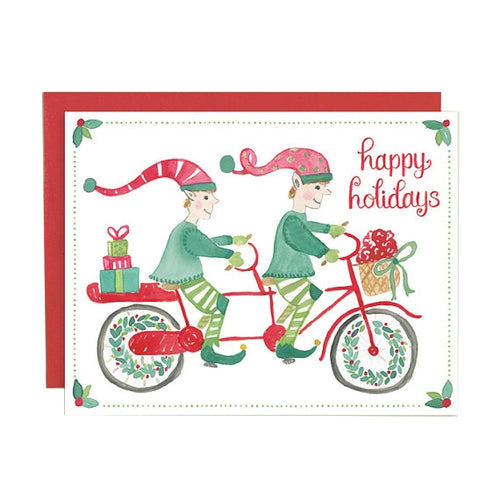 Happy Holidays Elves on Tandem Bike Card