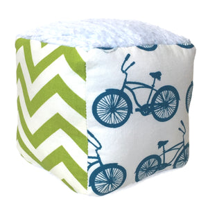 Chenille Block Rattle Toy with Bike Print