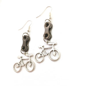 Small Silver Road Bike & Double Link Earrings by Steph