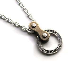 Strength Stamped Steel and Bike Chain Necklace