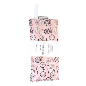 Washcloths, Set of 2, Pink with Road Bikes and White with Wheels