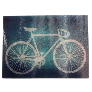 Glass Cutting Board, Road Bike with Bluish Background