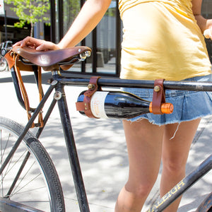 Bicycle Wine Rack - Tan Leather