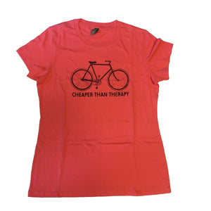 Cheaper Than Therapy Bike T-Shirt, Women's
