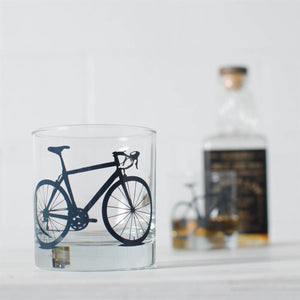 Rocks Glass with Bicycle Screenprint