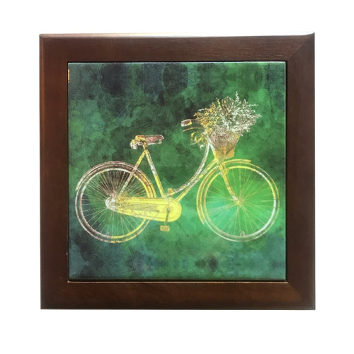 Framed Bicycle Trivet, Vintage Bike with Greenish Background