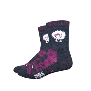 "DeFeet Woolie Boolie 4"" Baaad Sheep Charcoal with Neon Pink Socks"
