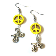 Vintage Peace Sign Silver Bike Earrings by Steph