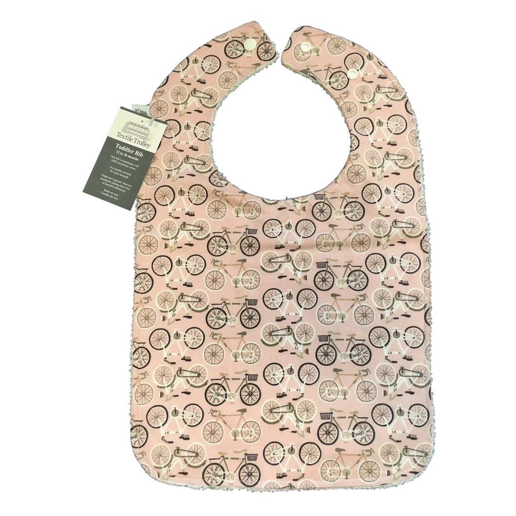Toddler Bib, Pink, Bicycles Print