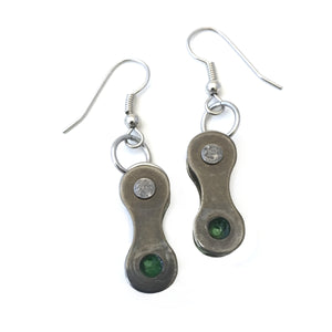 Green Recycled Bike Chain Earrings