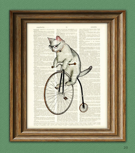 Atticus the Hipster Cat on a Pennyfarthing - Dictionary Print