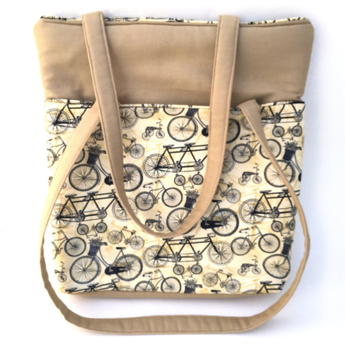 Tote Bag with Bike Print, Sand Colored, Large