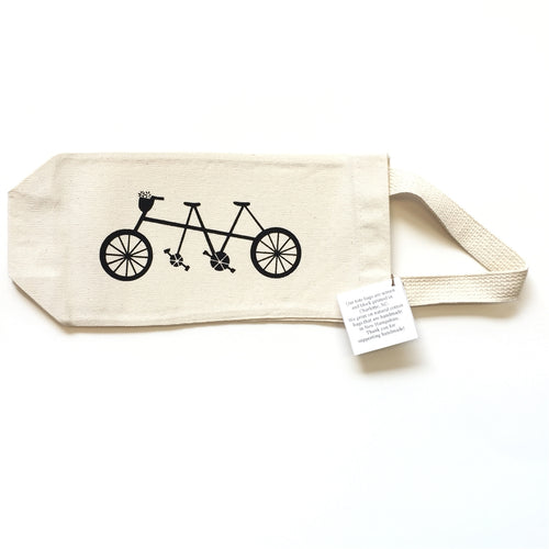 Wine Tote, Bicycle Built for Two Screenprint