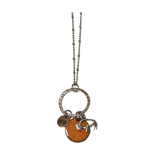 Bike and Buffalo Charms Enameled Penny Necklace