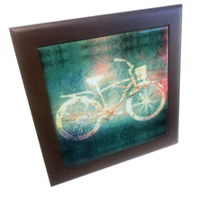 Framed Bicycle Trivet, Cruiser Bike with Greenish Background