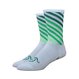 "DeFeet Handlebar Mustache Aireator 6"" Decade Pro White and Green Socks"
