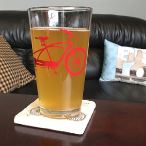 Pint Glass with Bicycle Screenprint