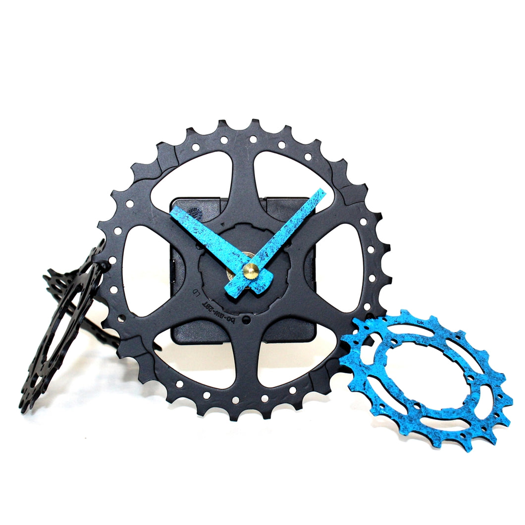 Funky Scattered Gears Desk Clock, Black and Blue