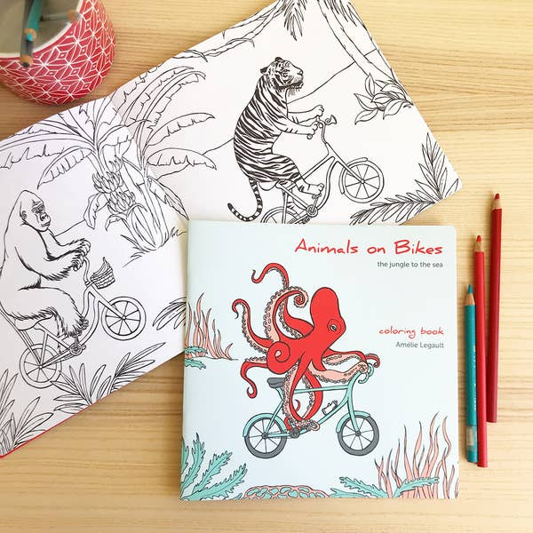 Animals on Bikes - The Jungle to the Sea Coloring Book
