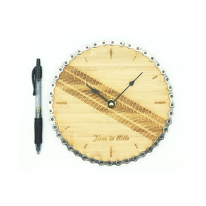 Time To Ride - Bamboo and Bicycle Chain Wall Clock