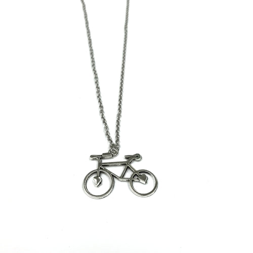 Bicycle Charm Necklace w/ Stainless Steel Chain