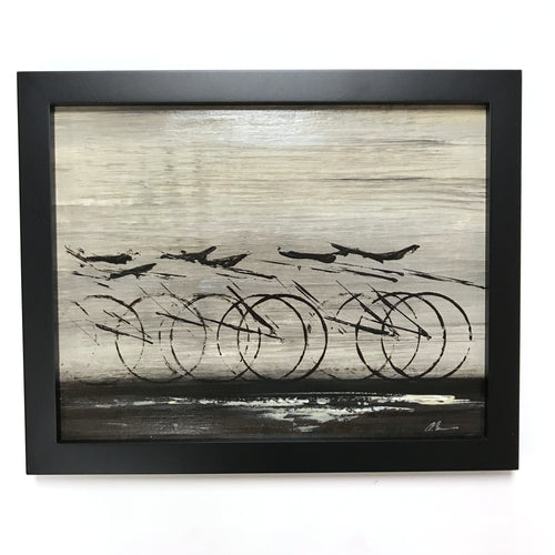 Black Industrial Cycle - Framed, Acrylic on Paper Original Work by Angelo Cane