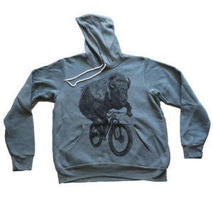 Buffalo on a Bicycle Hooded Sweatshirt