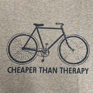 Cheaper Than Therapy Bike T-Shirt, Heathered Steel, Men's