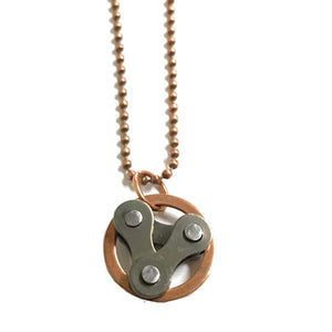 Copper Circle, Tri-Links Chain Necklace