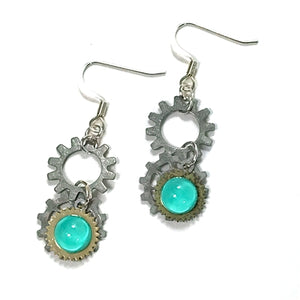 Cascading Silver Multi-Gear Nail Polish Earrings