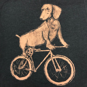 Dachshund on a Bicycle T-Shirt, Men's/Unisex, Black
