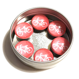 Glass Bike Magnet Tin (Set of 6)