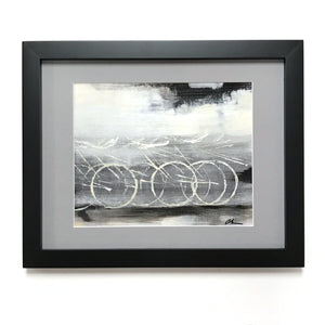 Gray Industrial Cycle - Framed, Acrylic on Paper Original Work by Angelo Cane
