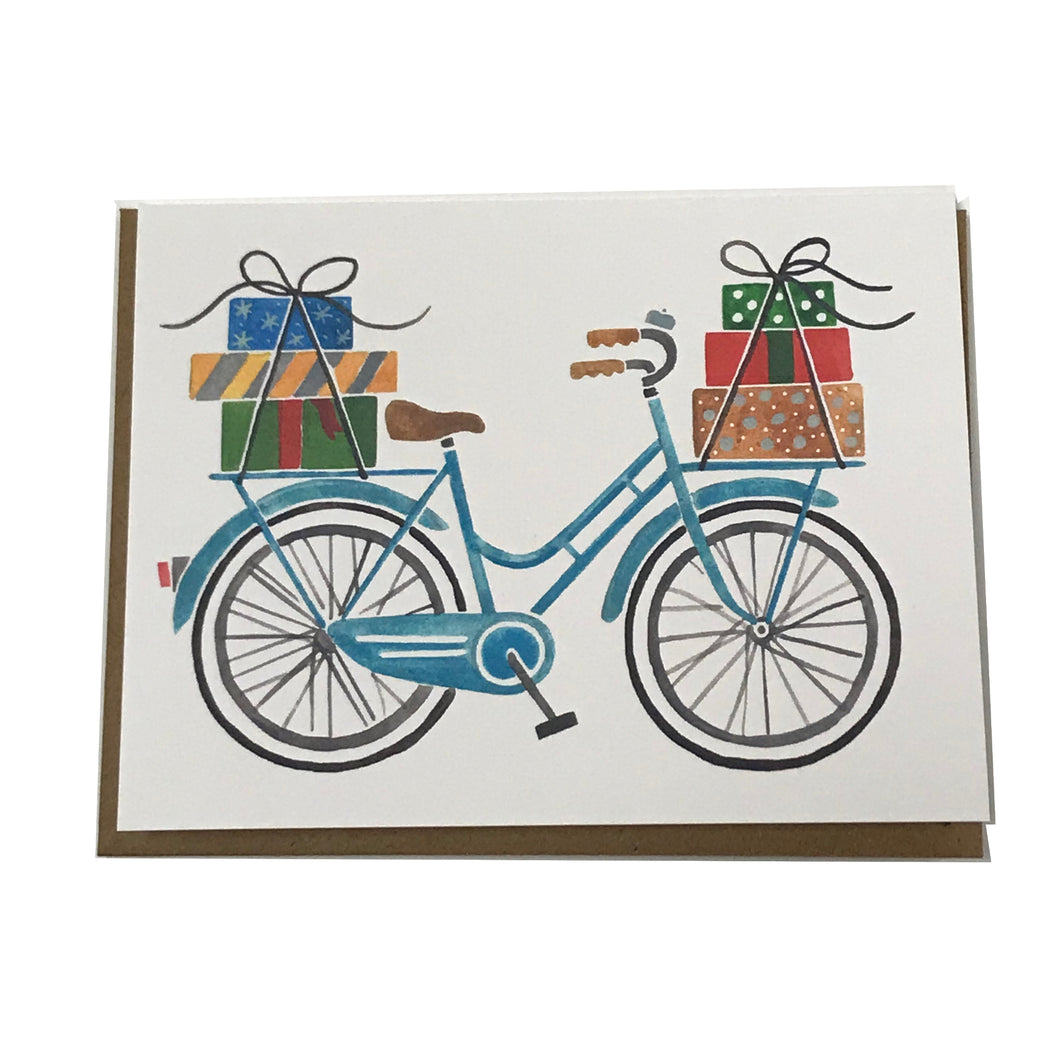 Holiday Bicycle with Presents Card