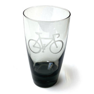 Bicycle-Etched 6-Inch Tumbler Glass, Smoked