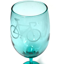 Bicycle-Etched 8-Inch Stemmed Wine Glass