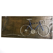 Road Bike (Small) Wire Art on Reclaimed Wood