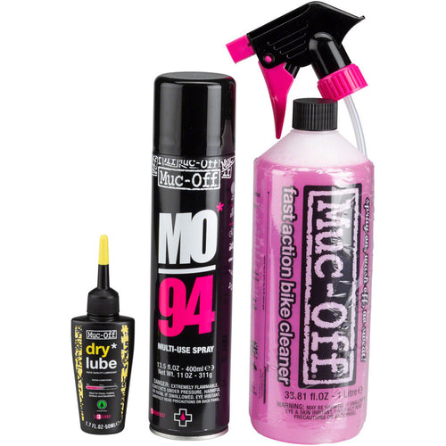 Muc-Off Bike Care Kit: Wash, Protect and Lube Kit, with Dry Conditions Chain Oil